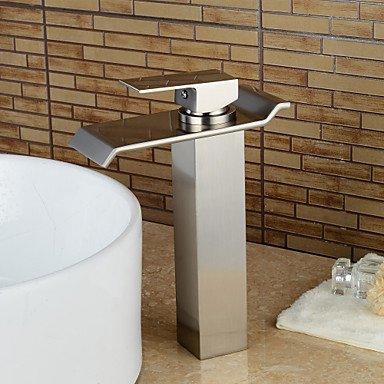 Tippen Sie auf modernen Schiffes Wasserfall mit Keramik Ventil einzigen Griff ein Loch für Chrom, Waschbecken Wasserhahn, Pinsel Nickel