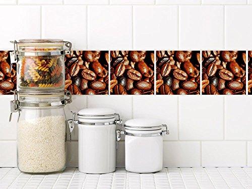 Graz Design Fliesenaufkleber Küche | braune Kaffee Bohnen | Fliesensticker für Deine Küchenfliesen | selbstklebende Folie | einfache...