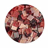 Creleo 790322 Mosaiksteine, Glitter Mix, 45 g, 10 x 10 mm, 190 Stück, rot