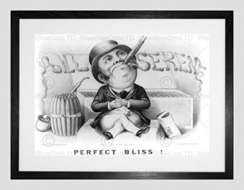 Preisvergleich Produktbild AD BLACK WHITE CIGAR TOP HAT PERFECT BLISS ALL SEREM FRAMED ART PRINT B12X5507