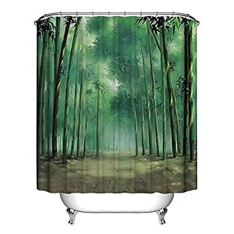 Polyester Fabric Bathroom Spa Hand Painted Bamboo Decor Shower Curtain