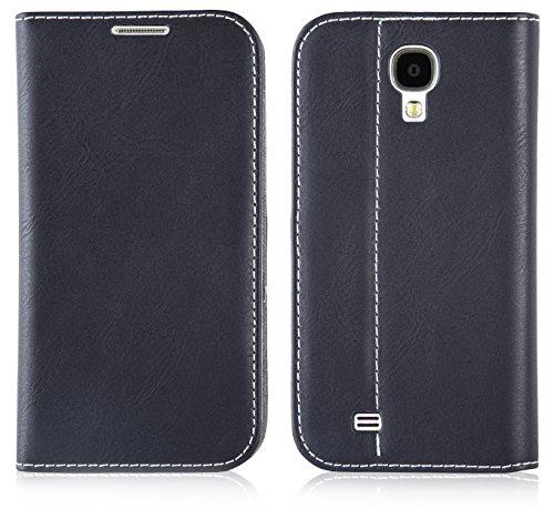 JAMMYLIZARD | Custodia in Pelle Flip Cover per Samsung Galaxy S4, Nera