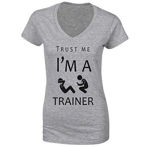 13e02da901d4 Trust Me I m A Trainer Damen VNeck Grau  m A Trainer Damen VNeck ...