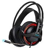 Fulltime E-Gadget PS4 Headset, 3.5mm Gaming-Kopfhörer Over-Ear Kopfhörer Noise Cancelling mit LED-Licht Kopfhörer mit Mikrofon für PC, MAC, Tablet, Handy (Schwarz)