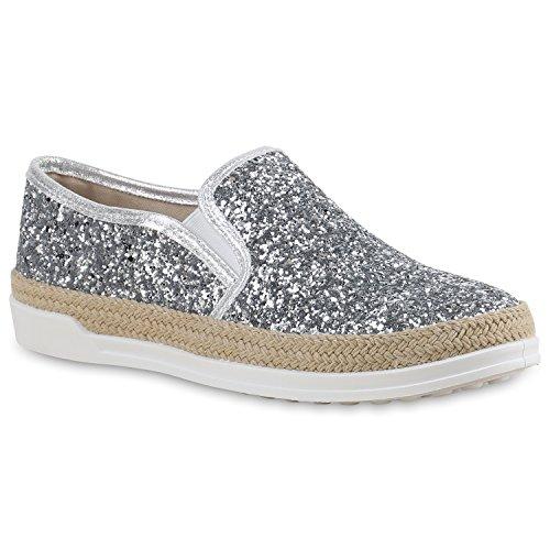 Damen Sneakers Slipper Slip-ons Glitzer Skaterschuhe Flats Silber Bast