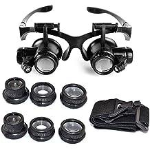 Starcrafter 10x 15x 20x 25x Gafas de ojo de lupa lupa LED de joyero para reparación de relojes