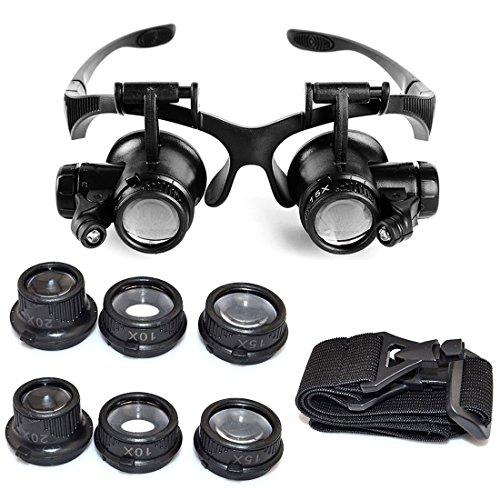 Galleria fotografica Starcrafter 10X 15X 20X 25X Lente di ingrandimento , Occhiali Eye Lente d'ingrandimento a LED per Riparazione di Gioielli e Orologiaio