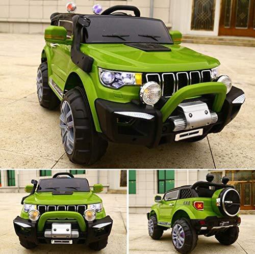 FP-TECH Auto ELETTRICA per Bambini Macchina Jeep 2 POSTI 4WD 12V con Telecomando USB MP3 (Verde)