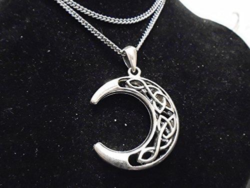 ARGENTO celtica Crescent Moon la collana d'argento di alta qualità 50 millimetri 925 placcato ciondolo e 69 cm d'argento grosso catena. Fabbricato negli Usa . nuovo con etichetta. 10 anni di garanzia