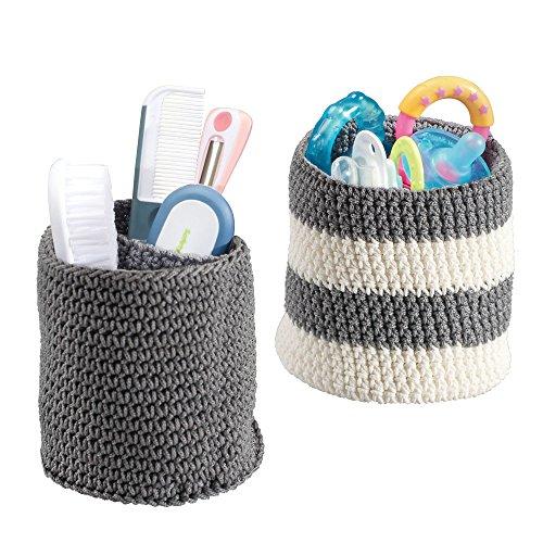 mDesign – Juego de cestas organizadoras versátiles y de gran calidad (mini) – Cestas de tela de color gris y blanco – Organizadores de baño para maquillaje o chupetes – Lavables en lavadora