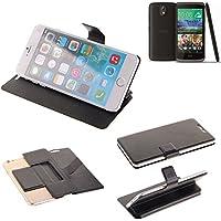 Caso de protección cubierta del tirón para HTC Desire 526G Dual SIM, negro | estilo del libro cartera cubierta delgada - K-S-Trade (TM)