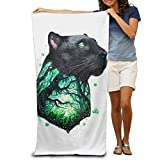 LUOL Customize Beach Towel Black Tree Panther Polyester Eco-Friendly Lightweight Bath Sheets Towels Hiking Camping Sport Durable Easy Care Machine Wash for Home Hotel Spa