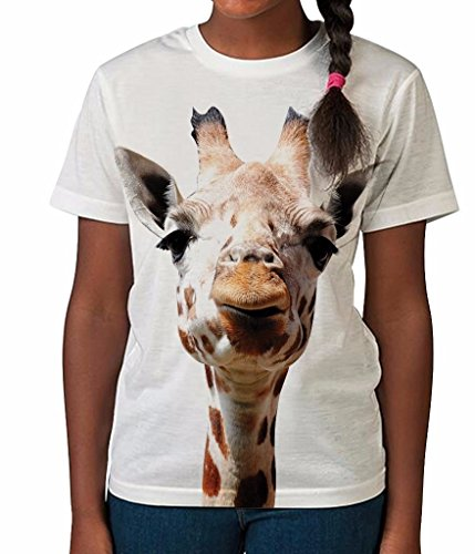 Giraffe Face Funny Animal Safari African Cool Girls Unisex Kids Child T Shirt (Safari Top Print)