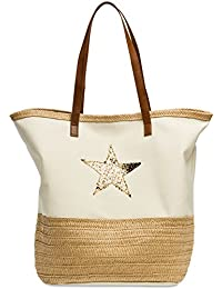 cc67c8df73 CASPAR TS1041 Large XXL Women Beach Bag Shopper Bag with Bast Decor and  Glitter Star