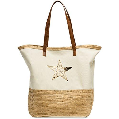 CASPAR TS1041 große XXL Damen/Familien Strandtasche/Shopper mit Bast Dekor und Glitzer Stern, Farbe:beige;Größe:One Size