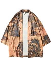 Kimono,Hombres Tamaño Grande Retro Estilo Chino Imprimiendo Delgada Protector Solar Chaqueta Cardigan