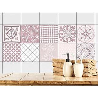 GRAZDesign 770348_10x10_FS40st Fliesenaufkleber Ornamente | Fliesen Zum  überkleben Im Bad Und Küche | Altrosa Mosaik |