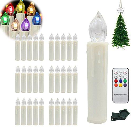 Hengda 30 Stück Wasserdichte LED Weihnachtskerzen mit 7 verscheidene Lichtmodifikationen Weihnachtsbaumbeleuchtung inkl. Fernbedienung Kabellos