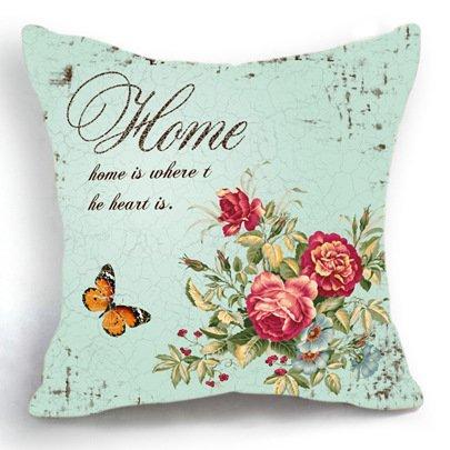 loool 45,7x 45,7cm Baumwolle Leinen Quadratisch Blossom Blume Schmetterling grün Kissenbezug Home Decor dekorativer Moderner Überwurf (Blossom Sham)