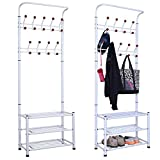 chinkyboo metal 18 hanger hooks clothes shoes hats bags stand rack (white)
