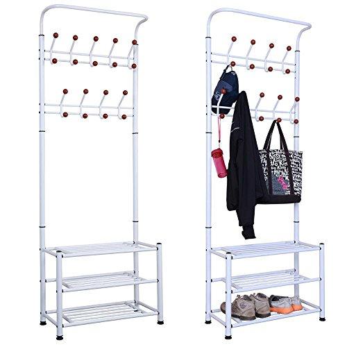 Yahee Garderobenständer Kleiderständer Wäscheständer Kleiderstange mit 3 schuhablage mit 18 Garderobenhaken in 2 Farbe (Weiß)