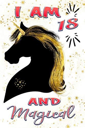 Cute Gold Black Unicorn Journal: Happy 18 Birthday Gift Notebook ()