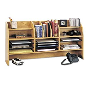 Radius Front Organizer, 16 Sections, 47 1/2 x 9 5/8 x 23 3/4, Medium Oak, Sold as 1 Each