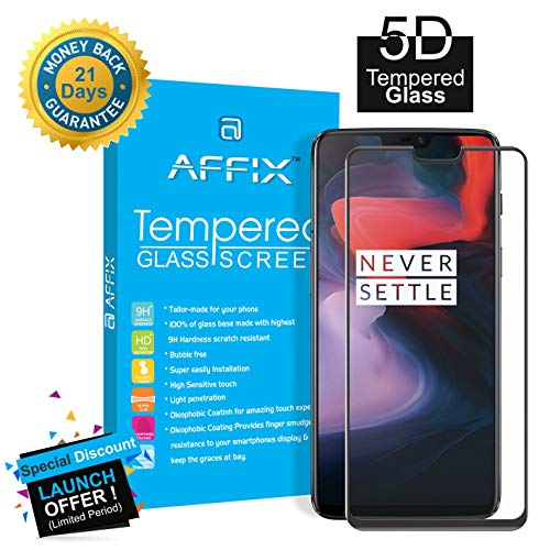 Affix Full Glue 5D Tempered Glass Edge-to-Edge Screen Full Coverage Protector for OnePlus 6 (Black)