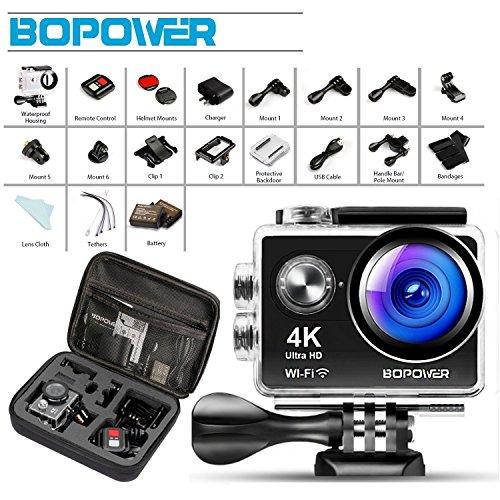 Action Cam Ultra Full HD , Bopower 4K 1080P 12MP 2,0 Zoll 170 °Weitwinkel 30M Wasserdichte Unterwasserkamera WiFi Helmkamera für Sport mit Handgelenkfernbedienung 1050mAh Akku und 18pcs Zubehör Kits,schwarz