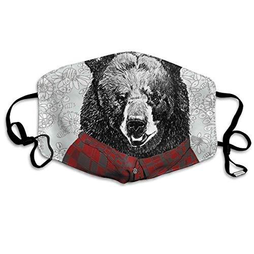 Anti-Staub-Maske mit Grizzly Bär-Druck, wiederverwendbar, waschbar, Ohrschlaufe, Gesichtsmaske für Männer und Frauen (Pediatric Maske)