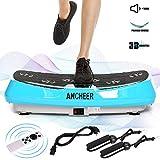 ANCHEER Plateforme Vibrante Fitness, Technologie de 3D Vibrations, 30 Niveaux de Vitesses avec Télécommande et 2 Bandes Elastiques d'Entraînement (JF-C04) (Gris)