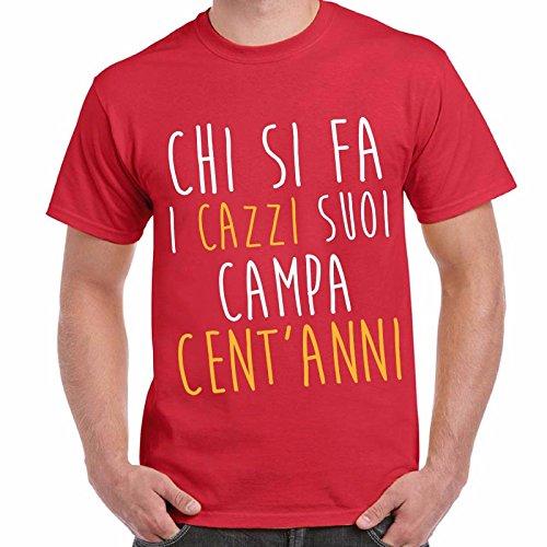 T-Shirt Divertenti Uomo Maglietta Con Stampe Ironiche Proverbi Campa Cent'Anni Chemagliette! Rosso