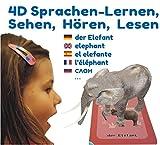 4D Flashcards - Interaktives Sprachlernspiel in 9 Sprachen mit 50 Wortschatz-Lernkarten und 50 Pop-Up-Figuren für Kinder ab 3 bis 10 Jahren. Erste Worte: Tiere, Fahrzeuge, Obst, Gemüse. Grundwortschatz-Entwicklung und Sprachförderung. Freie APP für iOS, Android.