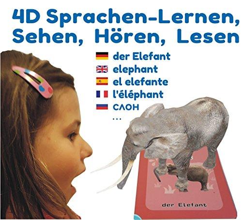 4D Flashcards + 4D Malen gratis: Interaktives Sprach-Lernspiel in 9 Sprachen mit 50 Wortschatz-Lernkarten und Pop-Up-Figuren. Ersten Wörter: Tiere, Fahrzeuge, Obst, Gemüse, Dino. Grundwortschatz-Entwicklung und Sprachförderung für Kinder ab 3 bis 10 Jahren. Freie APP für iOS und Android.