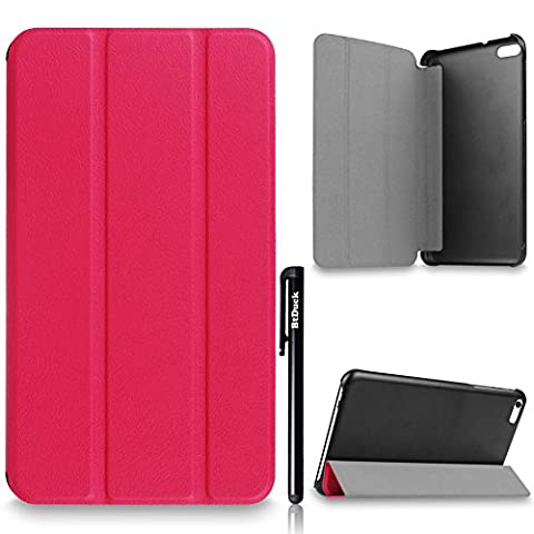 For Huawei MediaPad T1 7.0 701U Cover, BtDuck Simple And Luxurious Leather Case Business Style Shell Gray lining Flip Folio Book Style Version with Built-in Stand Holder and Front / Back Protection Ultra Slim Lightweight Case Stable Triangular Structure ( Color : Rose Red