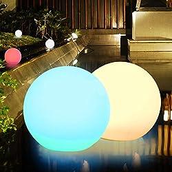 Obell - Luces LED flotantes de 12 pulgadas con luz solar de 10 RGB de color cambiante para el aire libre, impermeables, luz de globo de flotador, luz solar para jardín, postes de lámparas de fiesta de piscina, PE, 30,48 cm (12 pulgadas) 1.20volts