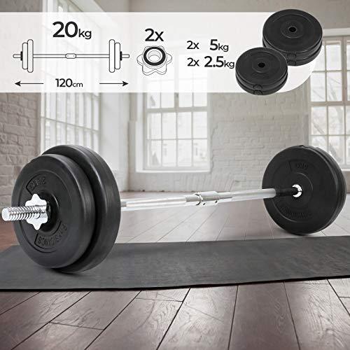 Physionics Barra de musculación de Pesas 20 kg - Barra Larga 120 cm con 4 Discos