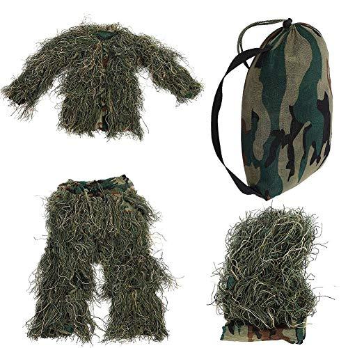 Bnineteenteam Dschungel Tarnung Unsichtbarkeitsanzug für Kinder Camouflage Army Camouflage Army Sniper Militärische Kleidung Dschungeljagd, Schießen, Tierfotografie, Halloween(Dschungeltarnung)