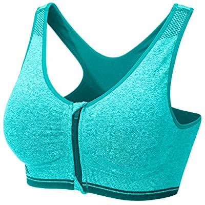 JUNLAN Women's Sports Bra Zipper Wide Straps High Impact Support Push Up Flex