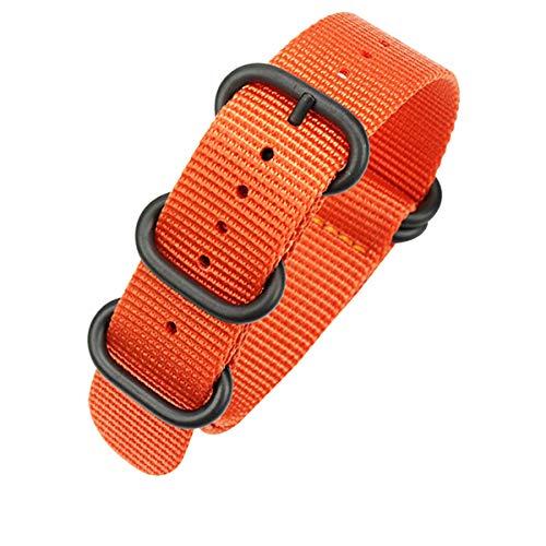 AUTULET Herren Nylon Uhrenarmband Orange 18mm