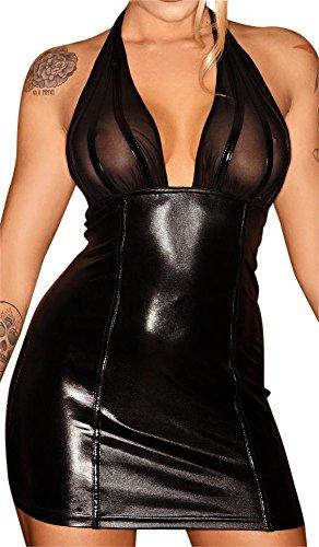 Noir Handmade Clubwear Damen-Kleid aus Tüll und Wetlook Partykleid Größen M