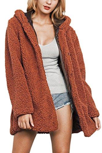 La Mujer Casual Botón Hoodie Winter Warm Faux Fur Jacket Outcoat Peluda Wined XL