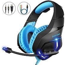 Gaming Headset para PC, MillSO PS4 Gaming Auriculares sobre la diadema para la oreja para Xbox One con micrófono de cancelación de ruido estéreo LED de luz 3.5 mm Audio Splitter Cable - Azul