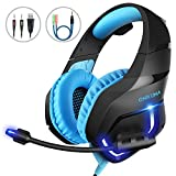 Gaming Headset PC, MillSO K1 Gaming Kopfhörer PS4 mit 3.5mm Klinke Mikrofon LED Licht In-Line Lautstärkeregler für Mac Playstation 4 Xbox One Nintendo Switch Tablet Smartphone - Blau