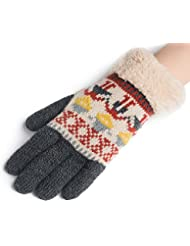 Longless Guantes de punto de mujer Guantes de hilo de invierno con todos los dedos Guantes de estudiante de ciclismo de terciopelo