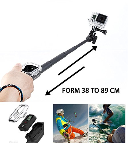Extendable Monopod Selfie Stick Pole Wifi Remote Housing For GoPro Hero 4/3+/3...