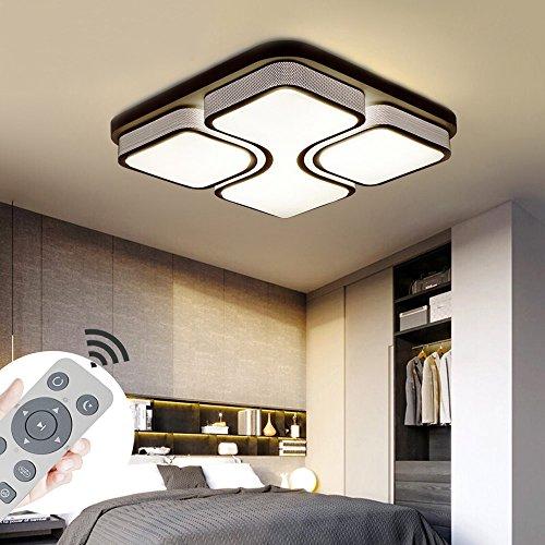 YESDA Lámpara de techo LED Moderno design Lámpara de baño cuadrado Ahorro de energía de blanco Iluminación de techo moderna (Negro-48W Regulable)