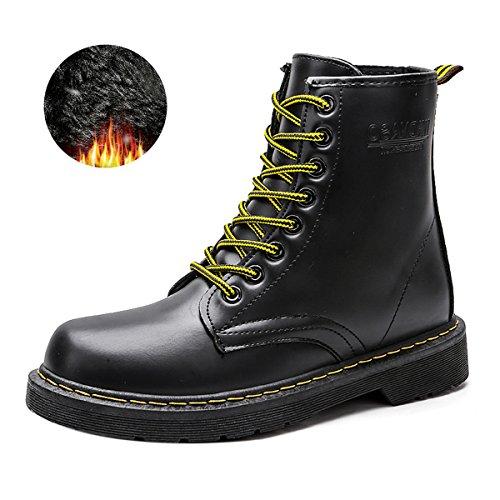 Botines para Mujer Botas de Invierno Botas Martin Calentar Botas de Nieve Botas de Invierno Cortas Botas con Cordones de Cuero Impermeables Botas de Trabajo Zapatos Tallas más Negro,38EU