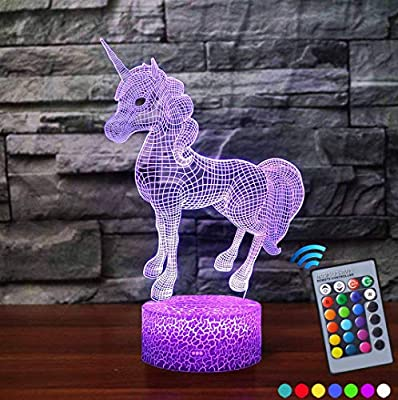 Unicorn 3D Night Light with Colour Changing Remote