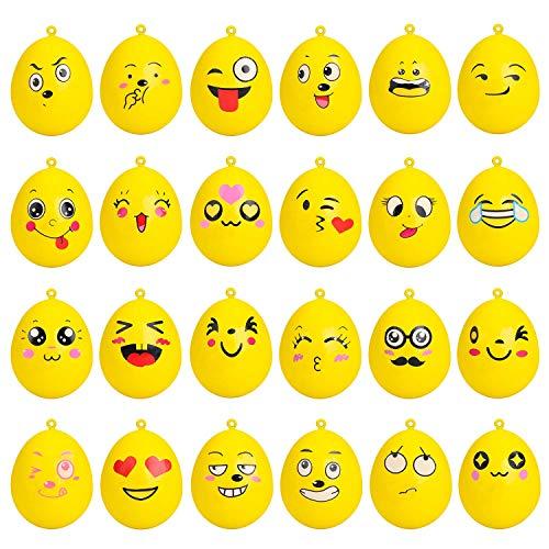 BEYUMI 24Pcs Easter Eggs Yellow Emoji Squishies Toys, Kawaii Jumbo Slow Rising Toy, Cream Scented Stress Relief Ball as Decorative/Key Chains/Phone Straps/Bonus - Stress-bälle Emojis